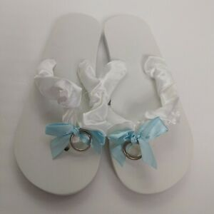 Just Married Flip Flops bridal Wedding Size 10 White Blue Rings Honeymoon