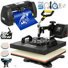 "5 in1 Heat Press 15""x15"" Vinyl Cutter 14"" Plotter Pattern Swing Away USB Port"