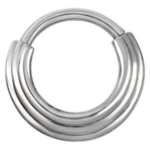 1.2mm Steel Hinged / Clicker Ring + Graduated Tribal Design ~ Septum Piercing