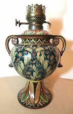 rare antique 1800's hand painted Royal Bonn pottery oil lamp Franz Mehlem Dutch