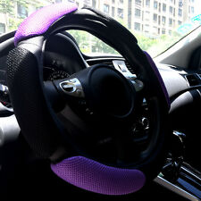 Black Purple Automotive Breathable 3D Soft Car Steering Wheel Cover Universal 15