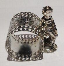 Antique Silverplate Figural Napkin Ring Cherub on a Pedestal