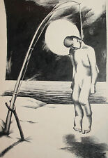 Vintage surrealist portrait ink painting hanged on a fishing rod
