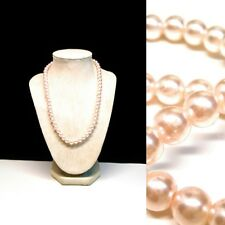 Plastic Beaded Necklace Light Pink Simulated Pearl