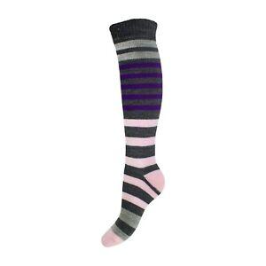 Ladies LONG Warm Cushioned Wellington Welly Boot Socks UK 4-8 EU 37-42 - STRIPED