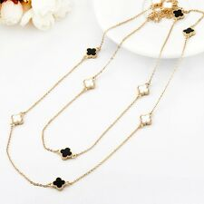 18K Gold GF Four Leaf Clover Lucky Pendant Long Necklace Sweater Chain