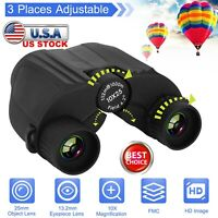 10x25 Zoom Binoculars Low Light Night Vision Foldable for Travel Concerts +Case