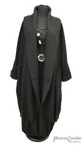 LAGENLOOK Walk Mantel gekochte Wolle L-XL-XXL 44 46 48 50 52 54 56 58 schwarz