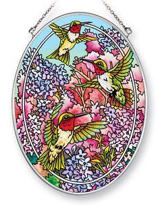 "Hummingbirds Lilacs Sun Catcher AMIA Hand Painted Glass 7"" x 5"" Purple Pink New"