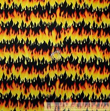 BonEful Fabric Cotton Quilt Black Red Orange Yellow FIRE Stripe Flame Cook SCRAP