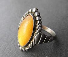 Baltic Amber Silver Ring 4.3g. Natural Antique Butterscotch Egg Yolk
