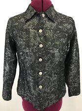 Laura Ashley Petite Holiday Black Metallic Silver Button Shirt Jacket Sz PS