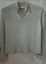 Liz Claiborne Womens Sweater Size Large Beige V-Neck Long Sleeves Mock Collar