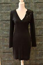 Vintage Merivale Cocktail Dress, Black Crepe, Low Back - Size 10 / 12 - GVC