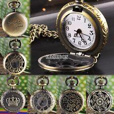Fashion Vintage Bronze Flower Hollow Quartz Pocket Watch Pendant Chain Necklace