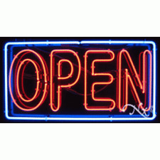 "Brand New ""Open"" 37x20x3 W/Border Real Neon Sign w/Custom Options 11102"