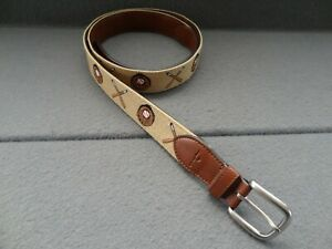 Tommy Bahama XL 42-44 Baseball Belt Canvas Embroidered Buckle Brown 11TM03XZ06