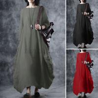UK Women Long Sleeve A-Line Flare Swing Cotton Loose Kaftan Maxi Dress Plus Size
