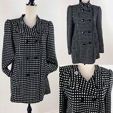 Ladies NEXT Check Coat 14 Black/White Polka Dot Pockets Wool Blend Jacket Lined