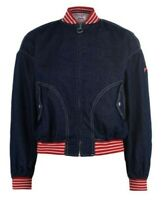 BNWT Pepe Jeans Bobbi Bomber Jacket in Blue Denim Size UK 10 RRP £115