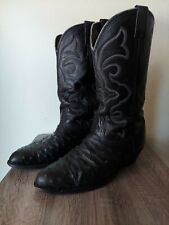 Larry Mahan Black Ostrich Cowboy Boots 9.5D,