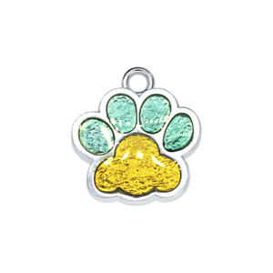 Personalized Dog Cat ID Tag Paw Print Engraved Custom Pet Name Anti-Lost Pendant