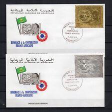 TIMBRES OR - MAURITANIE Afrique V.GISCARD D'ESTAING Or + argent sur 2 enveloppes