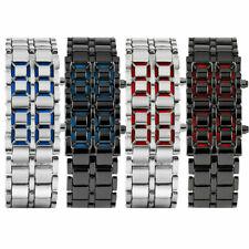Cool Mens Womens Lava Samurai Iron Metal LED Faceless Bracelet Dress Wrist Watch