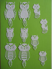 "10 Tattered Lace Die Cut ""Owls"" Embellisments"