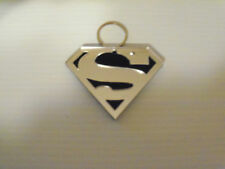 Superman Key Chain Colors Silver, Black Made From Mirror Acrylic