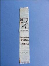 Kleines Stoffband Lesezeichen Internationaler Artistenkongress Gera 1914
