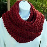 INFINITY SCARF LOOP COWL Dark Solid Red Long Handmade Crochet Circle Endless