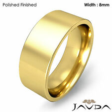 8mm Men Wedding Band Comfort fit Pipe Cut Ring 14k Yellow Gold 9.8gm Size 8-8.75