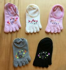 NWOT Five(5) Pairs of Cotton Blend Toe Socks Made in KOREA (5A-5) Size 5-7