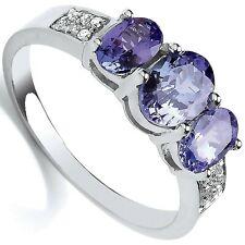 Tanzanite and Diamond Engagement Ring Three Stone White Gold  Certificate