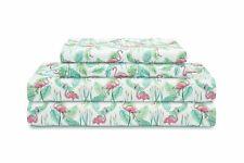 90Gsm Microfiber 4 Piece King Size Sheet Set Elite Home Flamingo Paradise Pink