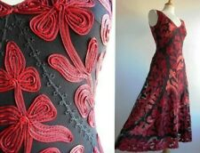 PHASE EIGHT Tape Work Dress Black Red Coral Wedding Evening Size 8