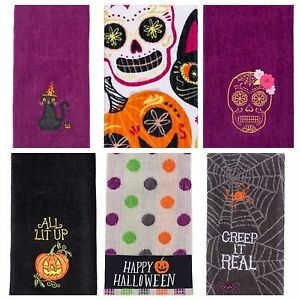 """Set of 2 Celebrate Halloween Together 25"""" X 16"""" Hand Towels Free S&H US Seller"""