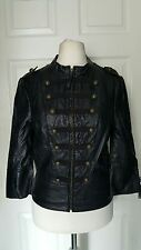 MISS SELFRIDGE Black Faux Leather Millitary Blazer Jacket Size 12