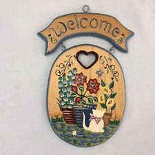 Vintage Hand Painted Wooden Country Cottage Welcome Sign Flowers and Cat New