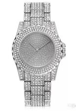 Watch Fully Iced Out MENS Silver Shiny Bling Bling Ice Diamond Shine Time