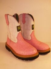 John Deere Pink White Western Cowboy Boots Leather Faux Ostrich - sized BOYS 3 M