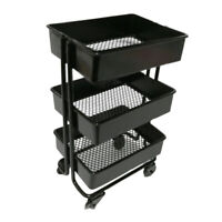1/12 Mini 3 Layer Storage Shelf Display Rack w/ 4 Wheels Dollhouse Kitchen Black