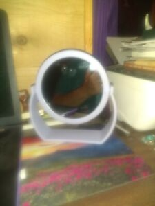 Purple Double-sided Makeup Mirror one side has magnification used