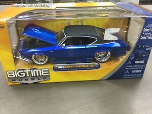JADA 1/24 BIGTIME MUSCLE 1969 BLUE W/ BLACK TOP CHEVY CHEVELLE SS