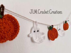 👻🎃 Crochet Handmade Pumpkin Ghost Bunting Garland Decor Halloween Mini 🎃👻