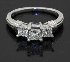 ZEI Platinum 1.15CT Princess cut diamond 3-stone wedding engagement ring sz 5.75