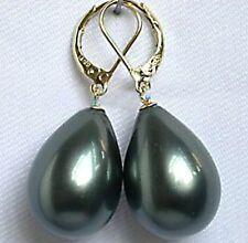 hübsche 12 * 16mm schwarz Schale Perle Partei Hochzeit Schmuck Ohrringe