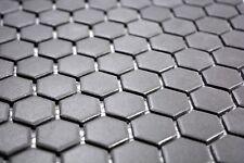 Mosaïque carreau céramique hexagone noir non vitré bain 11A-0304-R10_b  1 plaque