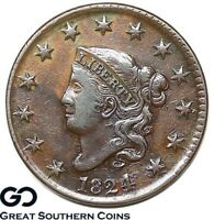 1824 Large Cent, Coronet Head, Choice AU++ Better Date Copper ** Free Shipping!